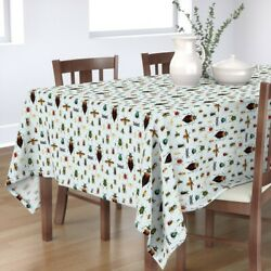 Tablecloth Beetles And Flies Display Biological Drawn Little Boy Cotton Sateen
