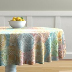 Round Tablecloth Textiles African Lady Ladies Strong Leaves Batik Cotton Sateen