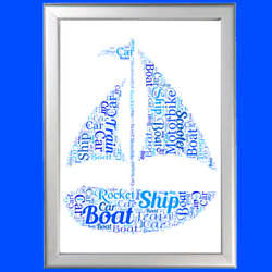 Personalised Boat Word Art Print Ideal Birthday Present For Him