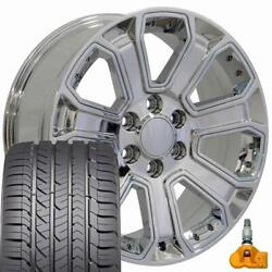 5661 Chrome 22x9 Wheels And Goodyear Tires Set Fits 2019 And Newer Gmc And Chevy