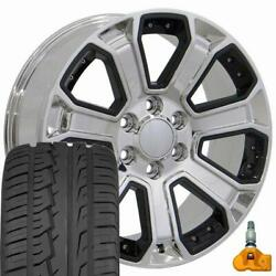 5661 Chrome And Black 22x9 Wheels And 285/45r22 Tires Set Fits 2019+ Gmc And Chevy