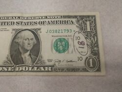 Rare 2009 One Dollar Star Note Bill Collectors Item.