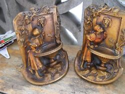 Early Cast Iron / Bronze 19th Century Bookends - Maiden At The Fountain