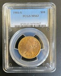 1901-s 10 Uncirculated Liberty Head Gold Eagle Pcgs Ms-63
