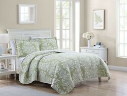 King Size Bedding Quilt Set Farmhouse Green Country Floral Light Weight 3pc New