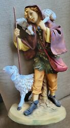 Vintage Fontanini Holy Family Shepard With Lambs For 20 Or 27 Nativity Set