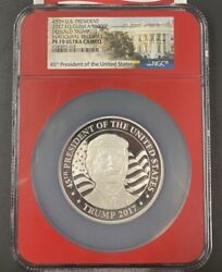2017 Donald Trump Equatorial Guinea S1000f 1ozt .999 Silver Coin Ngc Pf-70 And Coa