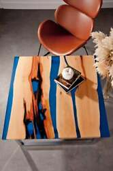 Blue Square Epoxy Center Coffee Table Top Wooden Office Table Deco Made To Order