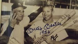 Very Rare Mickey Mantle Signed 1956 Triple Crown Photo Uda And Psa/dna Gem Mint