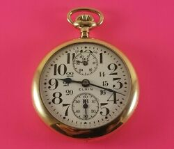 Vintage Elgin Father Time Pocket Watch Up And Down Indicator S/n23039146 Ca.1921