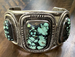 Carlos White Eagle Native American Turquoise Sterling Silver Bracelet Signed