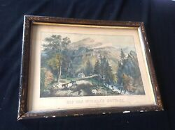 Antique Currier And Ives Rip Van Winkle Cottage Catskills Mnts Hand Colored Print