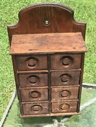 Vintage Antique 8 Drawer Apothecary Spice Cabinet 18473