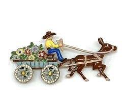 Vintage 1930and039s Enameled Donkey And Flower Cart Pin W Moveable Rhinestone Wheels