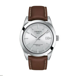 Brand New Tissot Men's Powermatic 80 Silicium Brown Leather Watch T1274071603100