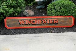 1960and039s Vintage Winchester Guns Ammo Rifle Dealer Hunting Store Wood Sign Display