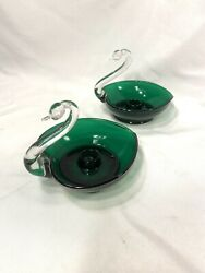 Set Of 2 Vintage Depression Glass Clear And Green Swan Candle Holders