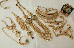 Indian Antique Jewelry Bridal Necklace Bollywood Ethnic Gold Plated Wedding Set
