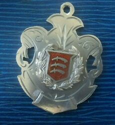 Essex Coat Of Arms Silver And Enamel Fob Medal H/m 1911 Chester - Not Engraved