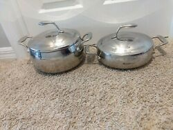 Tupperware Chef Series Non Stick Stainless Stock Pot 6 Qt And Saute Pan 3 Qt