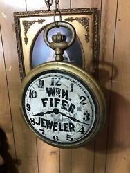 Antique Early 1900s Wm Fifer - Jeweler Pocket Watch Hanging Trade Sign