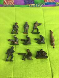 Vintage Cast Iron/wood Toy Soldiers Lot Of 10 - Barclay