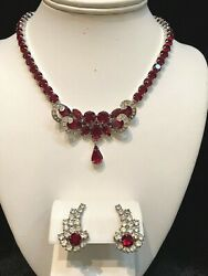 Vintage Weiss Ruby Red Rhinestone And Pave Ice Ribbon Necklace And Earrings Signed