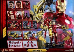 Hot Toys 1/6 Scale Iron Man 2 Diecast Figure Mk4 Mark Iv With Suit-up Gantry