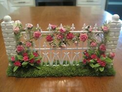 Artisan Made Rose Climbing Victorian Fence 112 Scale Dollhouse Miniature 1