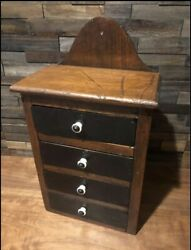 Vintage 4-drawer Wooden Spice Cabinet Rustic Farmhouse Decor