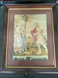Antique Early 19th Century Berlin Woolwork Needlepoint Petipoint - Outdoor Scene