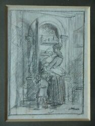 George Smith 1829-1901 Original Drawing Mother And Child At The Kitchen Cupboard