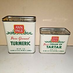 Pair Of Vintage Ann Page Spice Tins Tartar And Turmeric