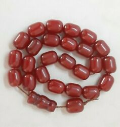 110.5 Grams Antique Faturan Cherry Amber Bakelite Beads Rosary Misbah Marbled.