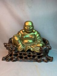 Antique Chinese Bronze Buddha Statue Hongmu Root Style Wood Chair Carving Budai