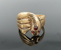 Antique Garnet And 14k Yellow Gold Decorated Coiled Snake Ring Size 7.5