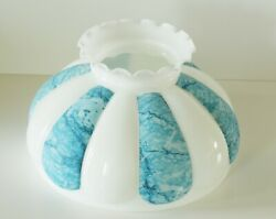 Vintage Large Melon Gwtw Student Lamp Shade-blue And White W/ Crimped Ruffle Top