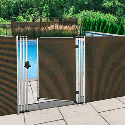 4ft Brown Removable Pool Privacy Backyard Deck Garden Patio Fence With Poles