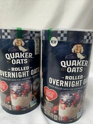 Quaker Rolled Overnight Oats, 19 Oz Canister Set Of 3 New