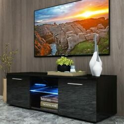 47 Inch Tv Stand High Gloss Unit Cabinet Drawers Led Light Living Room Furniture