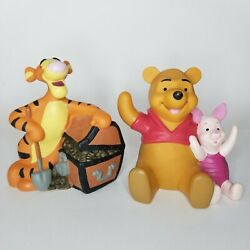 Vtg Lot Of 2 Disney Winnie The Pooh And Piglet And Tigger Coin Piggy Banks