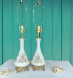 Pair Of Vintage Lamps White Glass Gold Details 70s Shades Finials