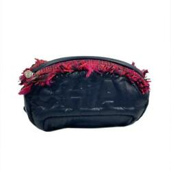 Coco Neige Waist Pouch Body Bag A57586 Nylon Tweed Navy Pink Used Cc Coco