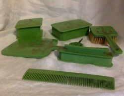 Antique Celluloid Dresser Vanity Set Of 7. Pastel Green With Gold Designs