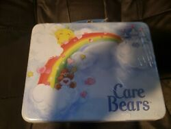 New 2003 Care Bears Tin Storage Box Lunchbox – Care Bears In Rainbow And Clouds