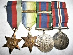 Canadian Atlantic F And G Clasp Naval Medal Group Of 4 Ww2 Medals + Os Clasp