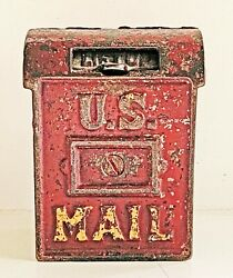 Vintage Cast Iron Red And Gold U. S. Mail Box Coin Bank
