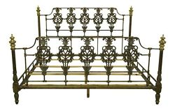 52293ec High Quality Iron King Size Bed W. Brass Finials