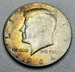1964 Kennedy Silver Half Dollar Coin Rainbow Toned From Old Album