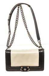 White Black Patent Leather Small Shoulder Bag